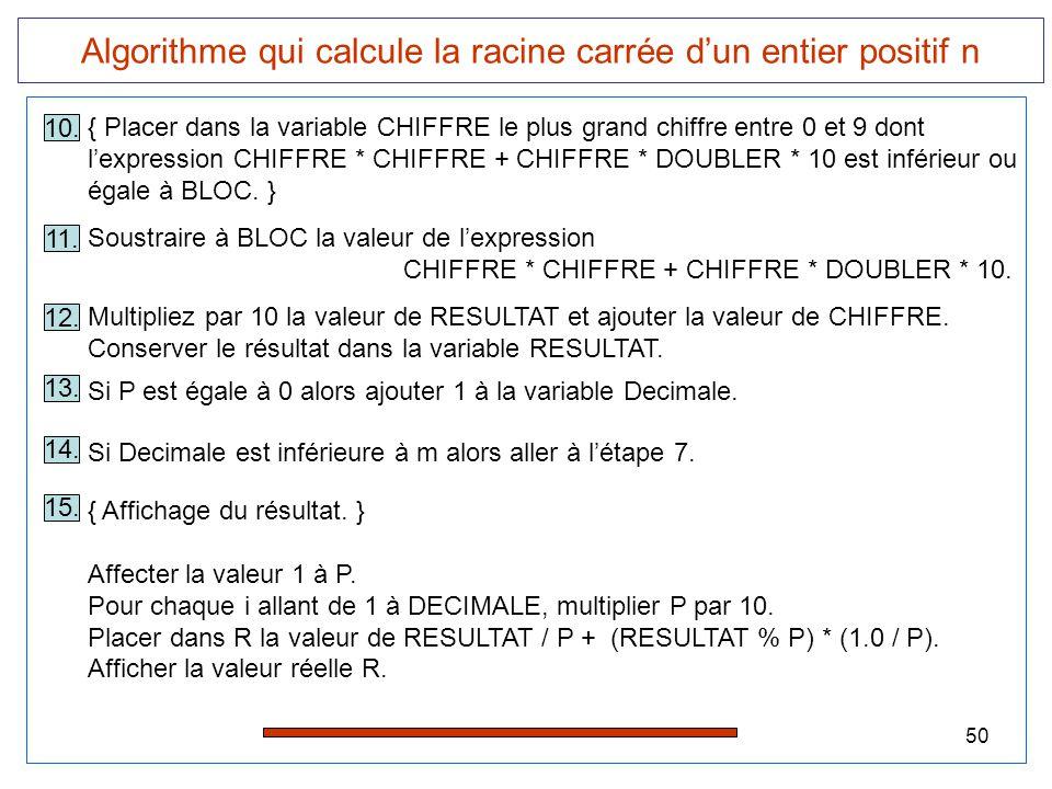Algorithme qui calcule la racine carrée d'un entier positif n