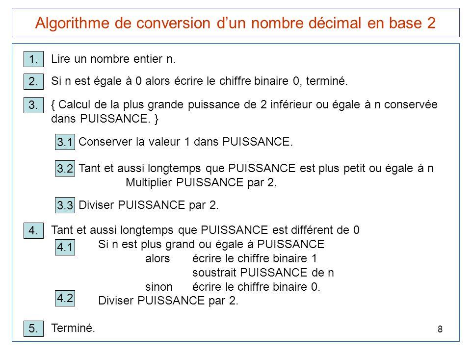Algorithme de conversion d'un nombre décimal en base 2
