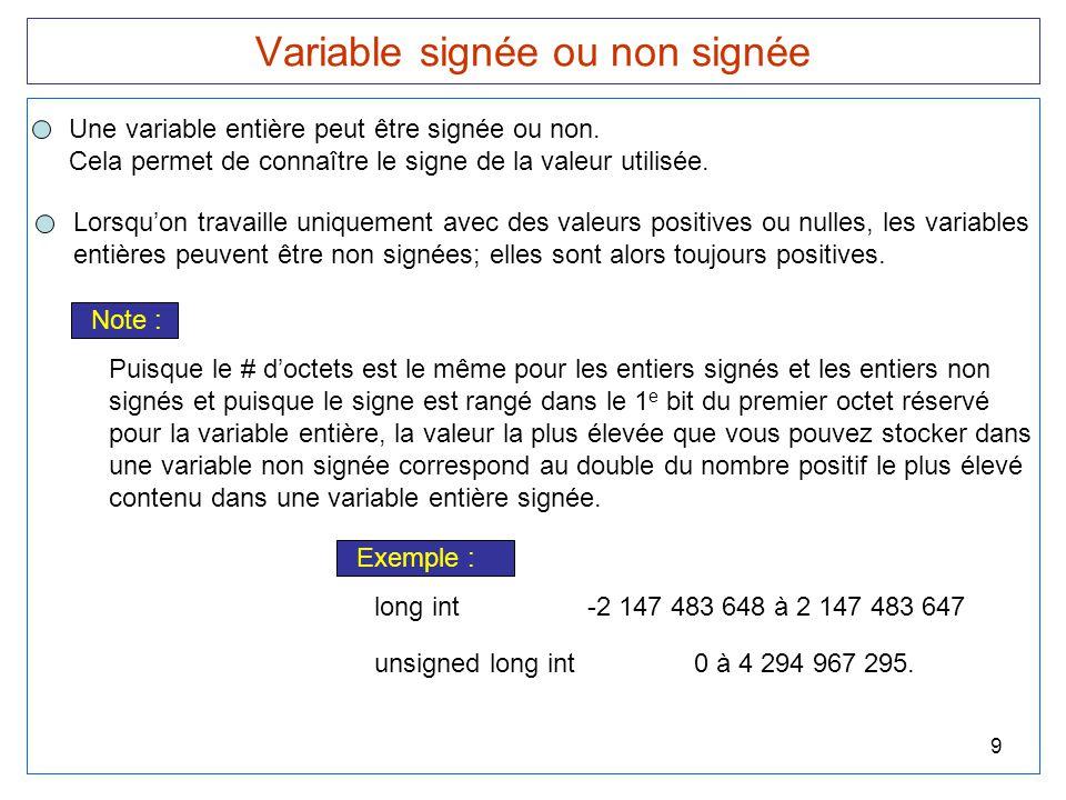 Variable signée ou non signée