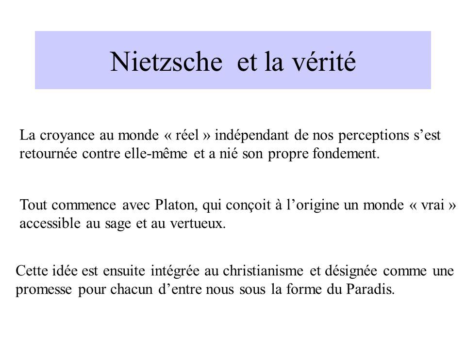 Nietzsche et la véritéLa croyance au monde « réel » indépendant de nos perceptions s'est. retournée contre elle-même et a nié son propre fondement.