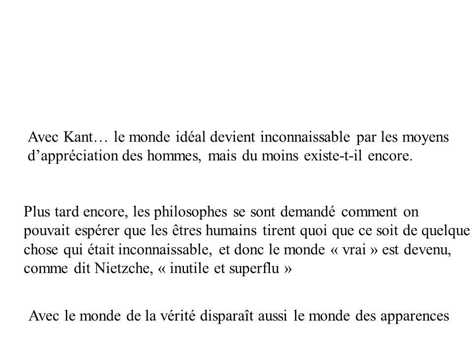 Avec Kant… le monde idéal devient inconnaissable par les moyens