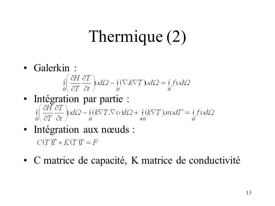 Thermique (2) Galerkin : Intégration par partie :