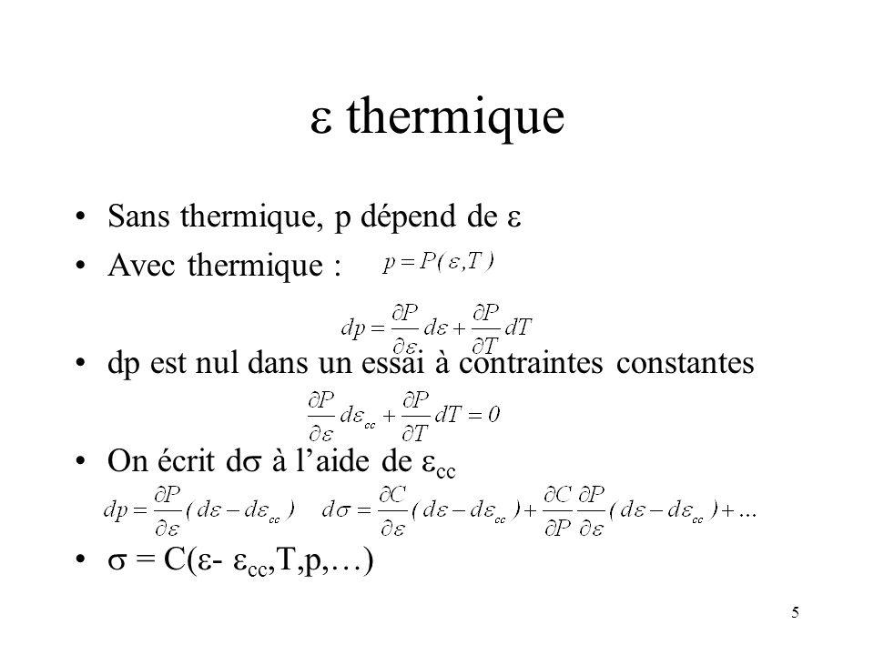  thermique Sans thermique, p dépend de  Avec thermique :