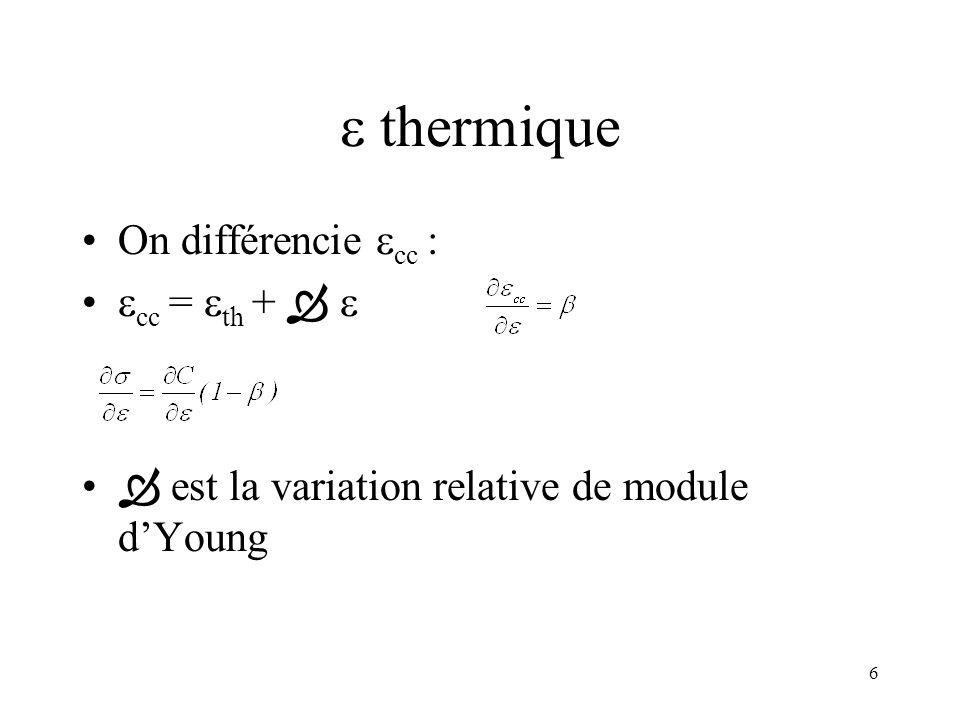  thermique On différencie cc : cc = th +  
