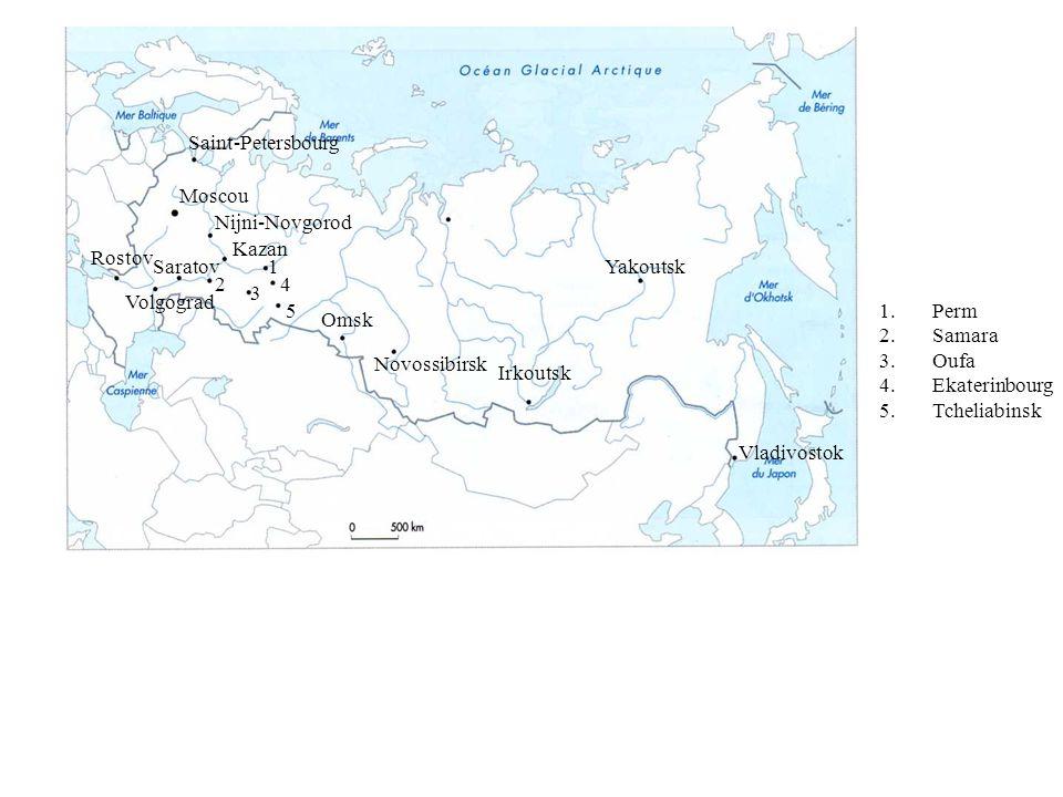 Saint-PetersbourgMoscou. Nijni-Novgorod. Kazan. Rostov. Saratov. 1. Yakoutsk. 2. 4. 3. Volgograd. 5.