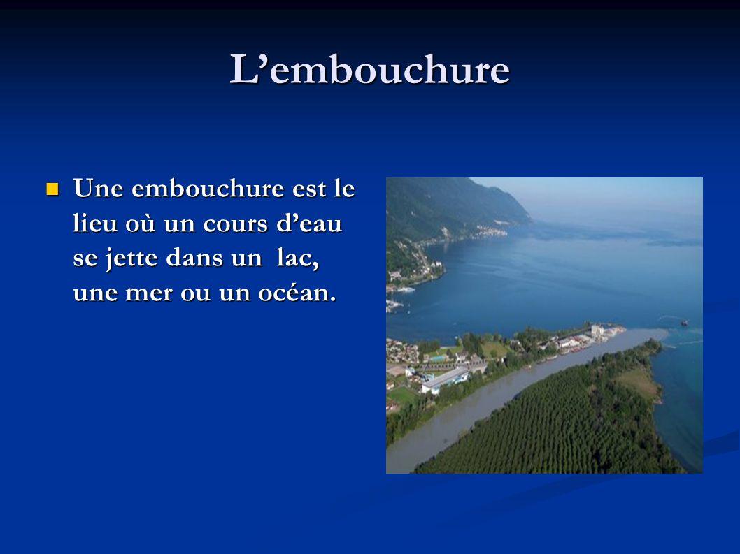 L'embouchure Une embouchure est le lieu où un cours d'eau se jette dans un lac, une mer ou un océan.