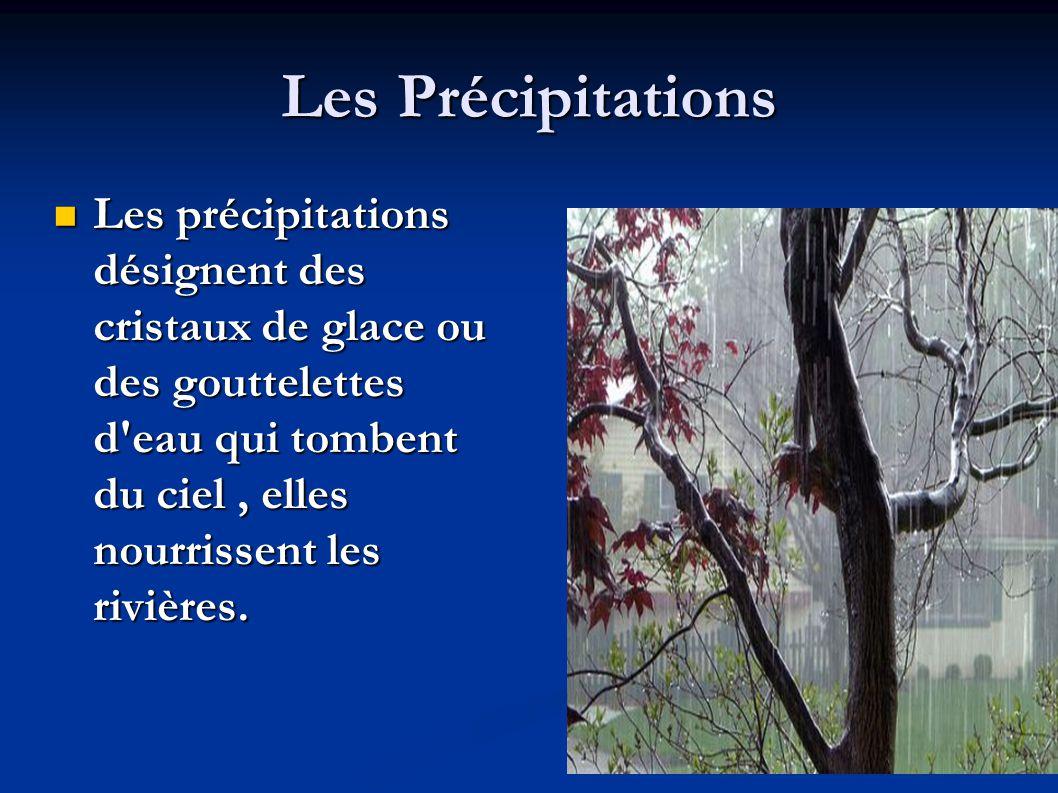 Les Précipitations Les précipitations désignent des cristaux de glace ou des gouttelettes d eau qui tombent du ciel , elles nourrissent les rivières.
