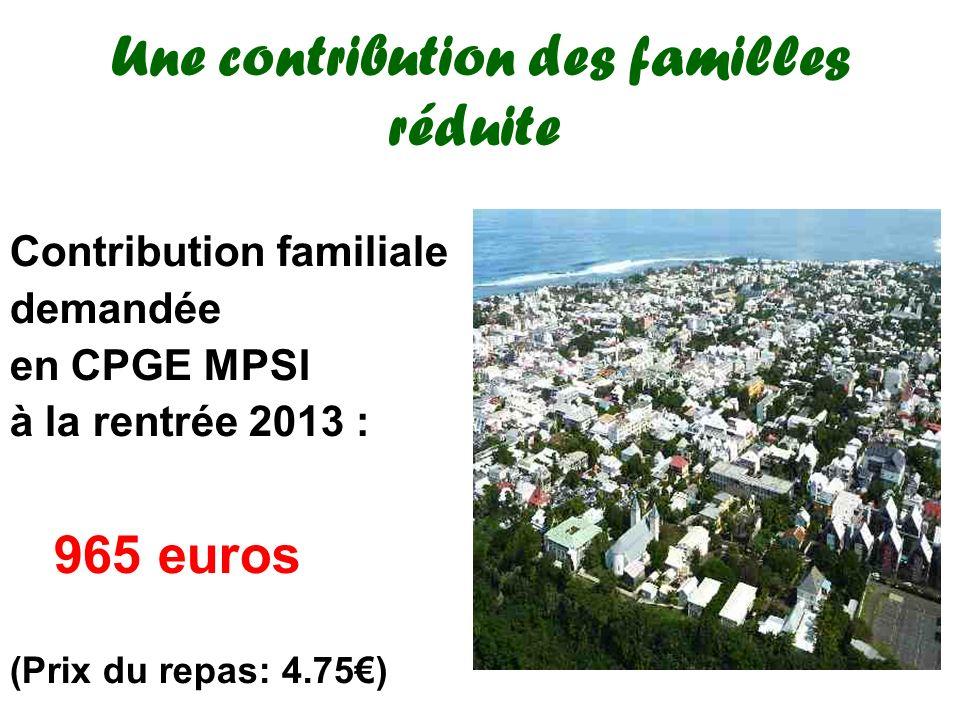 Une contribution des familles réduite