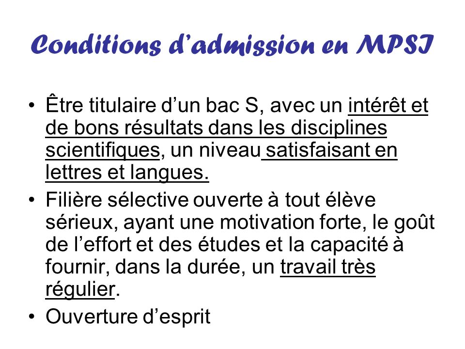 Conditions d'admission en MPSI