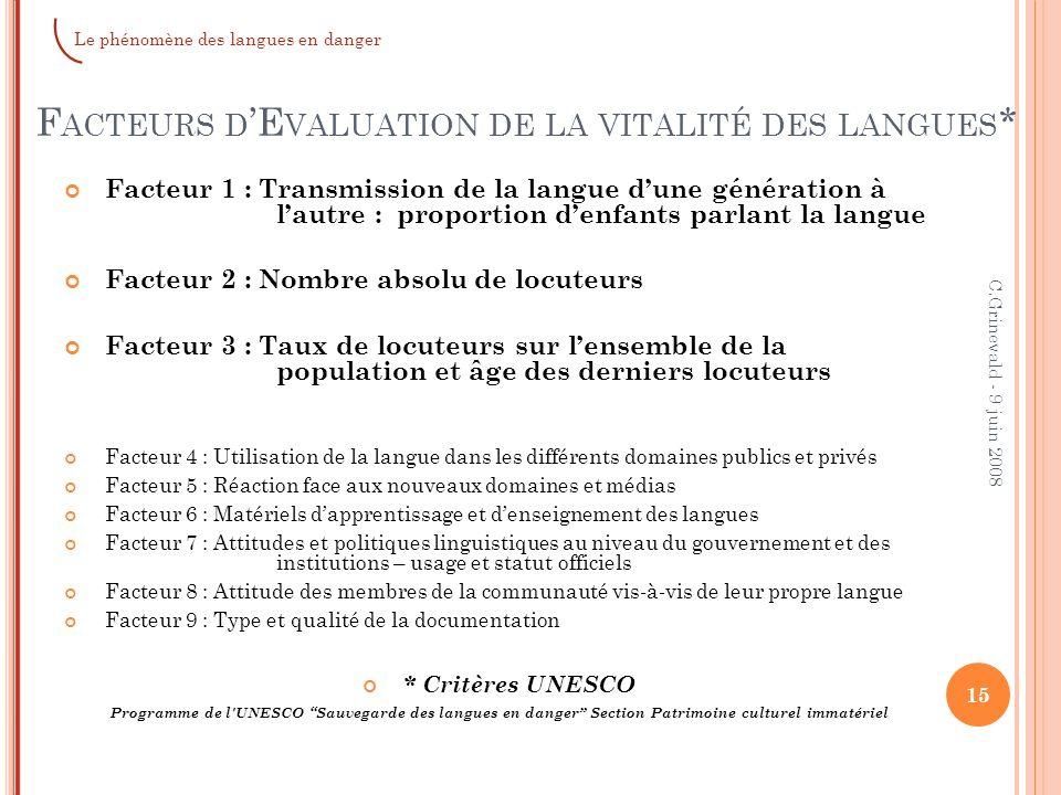 Facteurs d'Evaluation de la vitalité des langues*