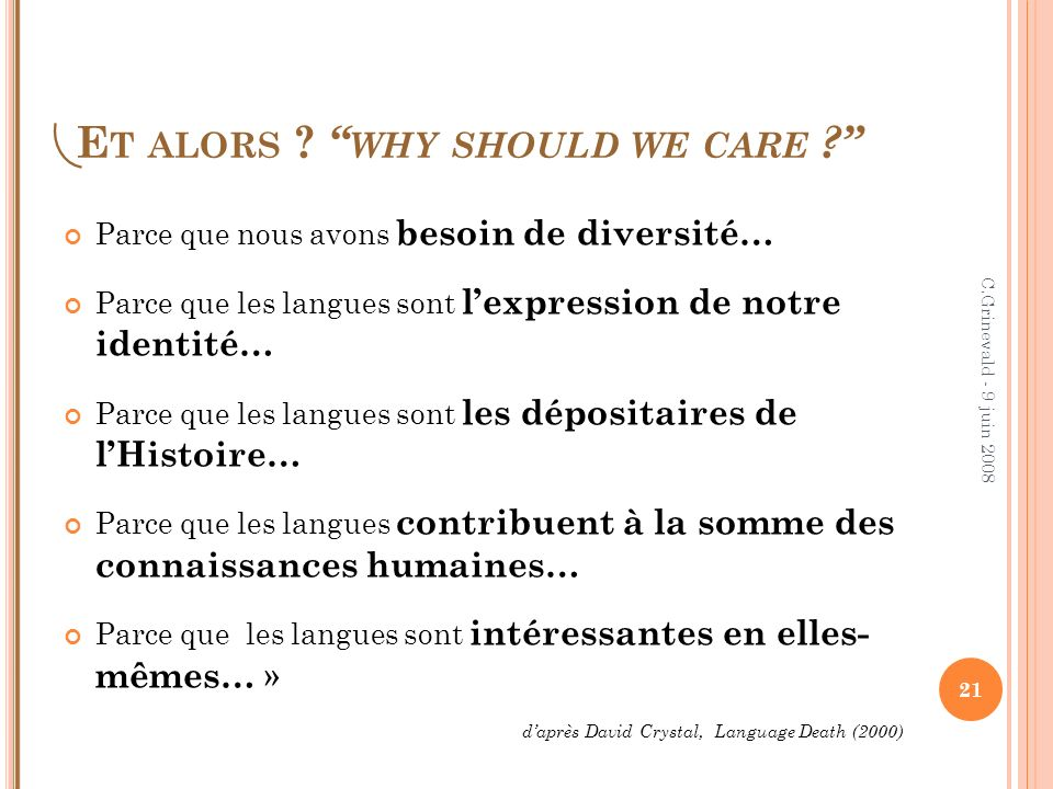 Et alors why should we care