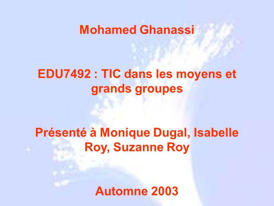 EDU7492 : TIC dans les moyens et grands groupes