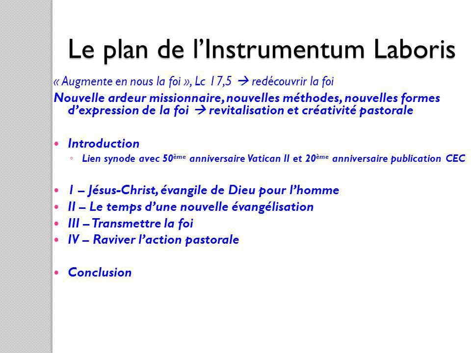 Le plan de l'Instrumentum Laboris