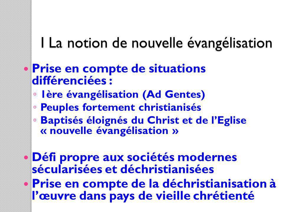 I La notion de nouvelle évangélisation