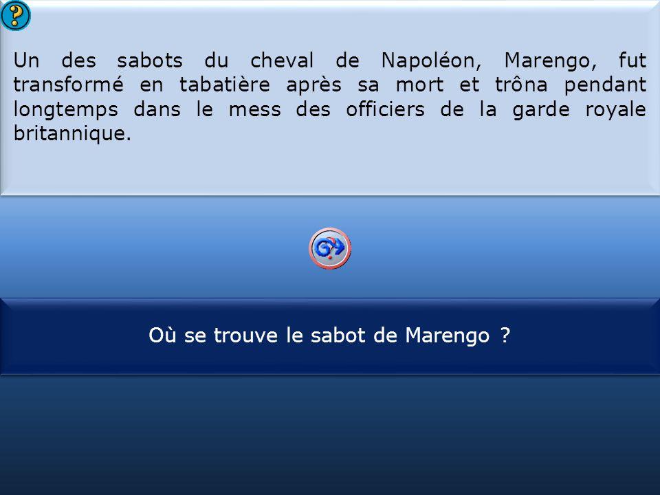 Un des sabots du cheval de Napoléon, Marengo, fut transformé en tabatière après sa mort et trôna pendant longtemps dans le mess des officiers de la garde royale britannique.