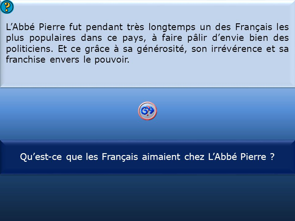 Qu'est-ce que les Français aimaient chez L'Abbé Pierre