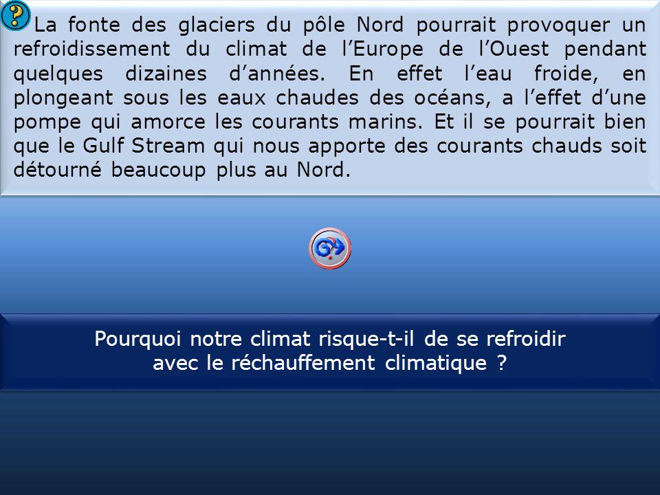 La fonte des glaciers du pôle Nord pourrait provoquer un refroidissement du climat de l'Europe de l'Ouest pendant quelques dizaines d'années. En effet l'eau froide, en plongeant sous les eaux chaudes des océans, a l'effet d'une pompe qui amorce les courants marins. Et il se pourrait bien que le Gulf Stream qui nous apporte des courants chauds soit détourné beaucoup plus au Nord.