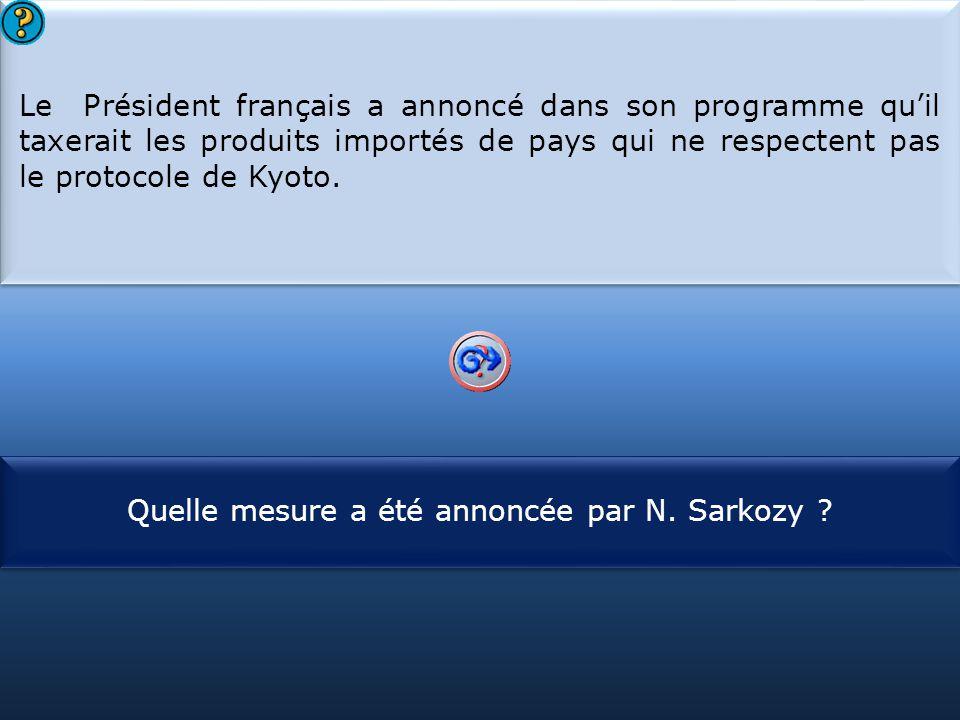 Quelle mesure a été annoncée par N. Sarkozy