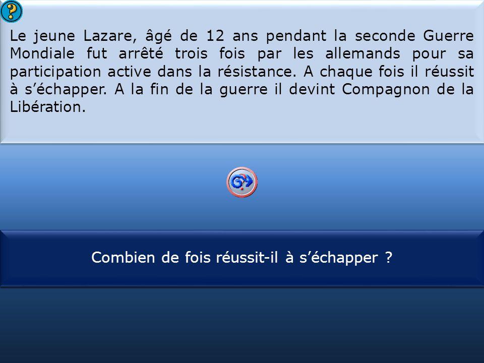 Le jeune Lazare, âgé de 12 ans pendant la seconde Guerre Mondiale fut arrêté trois fois par les allemands pour sa participation active dans la résistance. A chaque fois il réussit à s'échapper. A la fin de la guerre il devint Compagnon de la Libération.