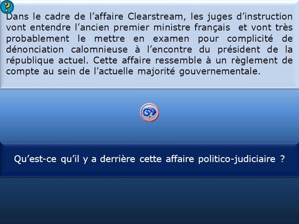 Dans le cadre de l'affaire Clearstream, les juges d'instruction vont entendre l'ancien premier ministre français et vont très probablement le mettre en examen pour complicité de dénonciation calomnieuse à l'encontre du président de la république actuel. Cette affaire ressemble à un règlement de compte au sein de l'actuelle majorité gouvernementale.