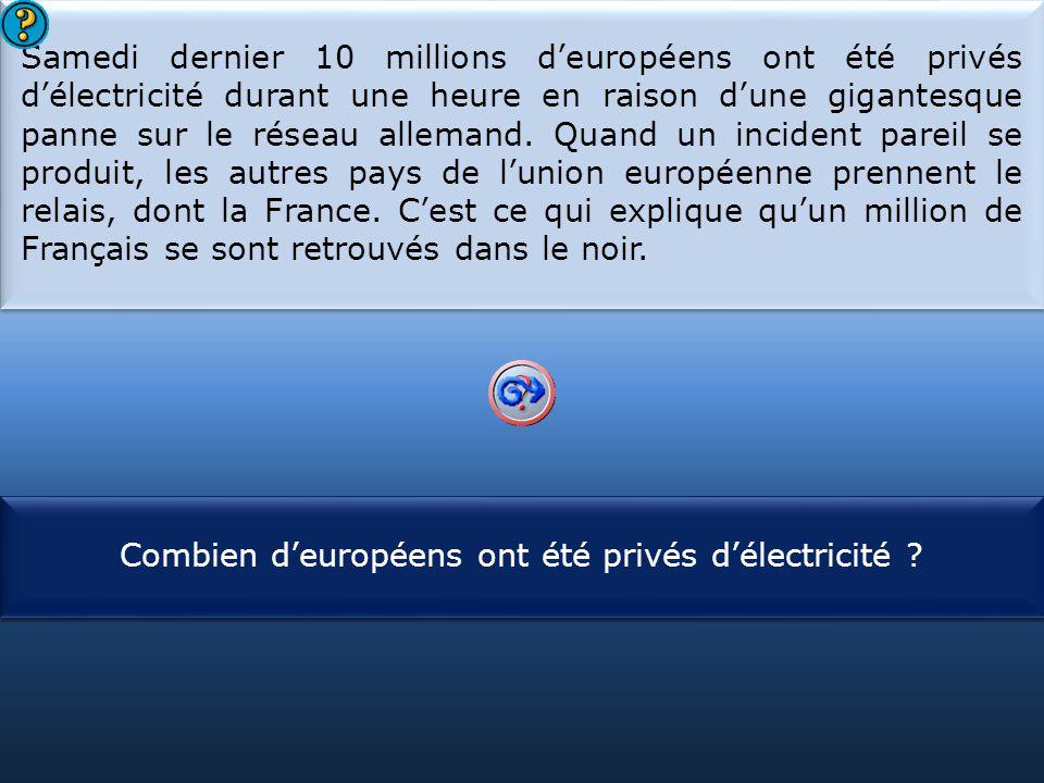 Samedi dernier 10 millions d'européens ont été privés d'électricité durant une heure en raison d'une gigantesque panne sur le réseau allemand. Quand un incident pareil se produit, les autres pays de l'union européenne prennent le relais, dont la France. C'est ce qui explique qu'un million de Français se sont retrouvés dans le noir.