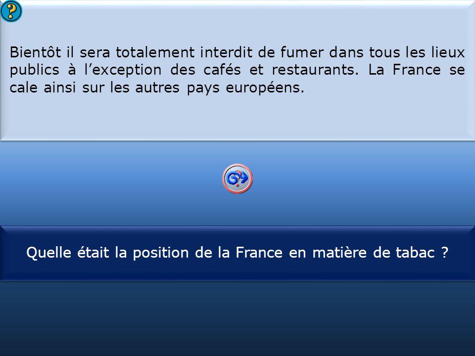 Quelle était la position de la France en matière de tabac