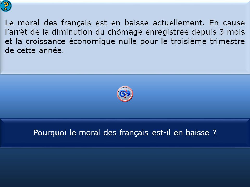 Pourquoi le moral des français est-il en baisse