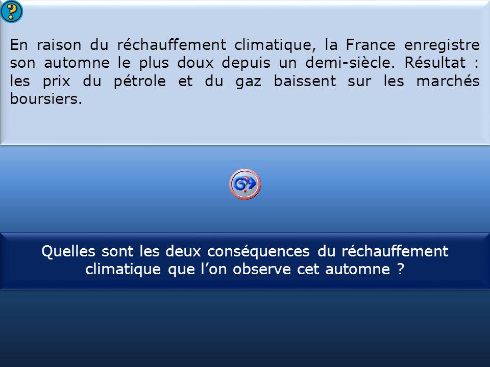 En raison du réchauffement climatique, la France enregistre son automne le plus doux depuis un demi-siècle. Résultat : les prix du pétrole et du gaz baissent sur les marchés boursiers.