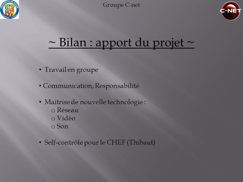 ~ Bilan : apport du projet ~