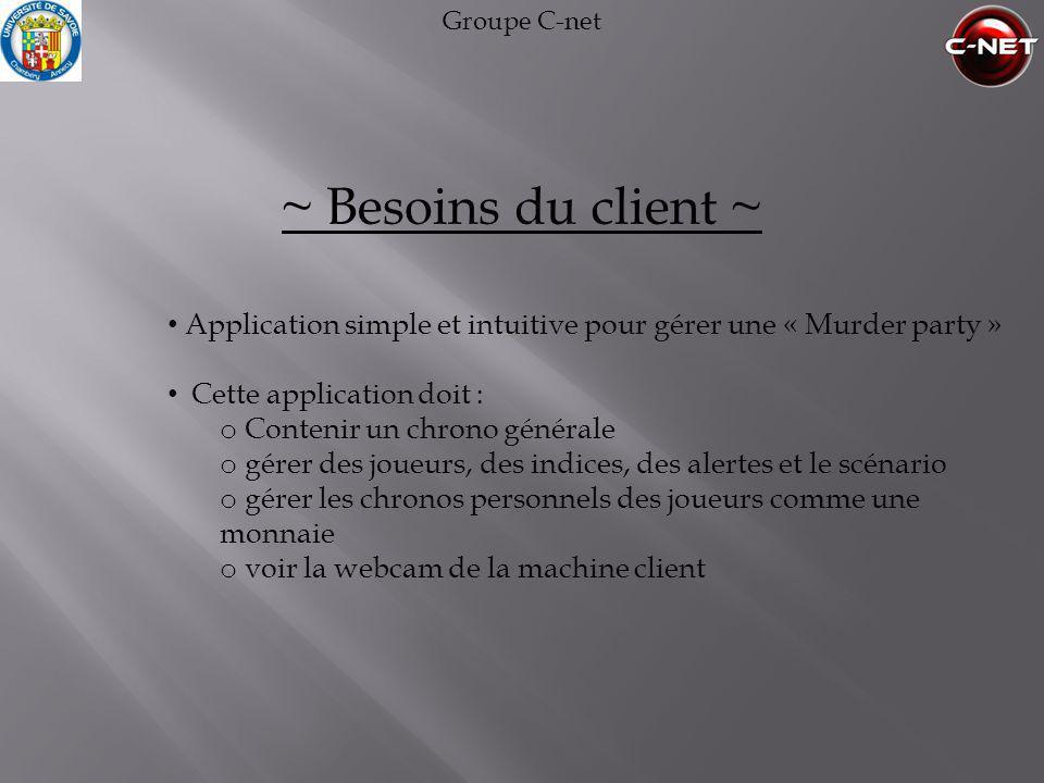 Groupe C-net ~ Besoins du client ~ Application simple et intuitive pour gérer une « Murder party »