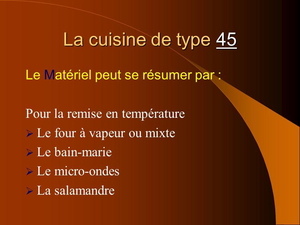 La cuisine de type 45 Le Matériel peut se résumer par :