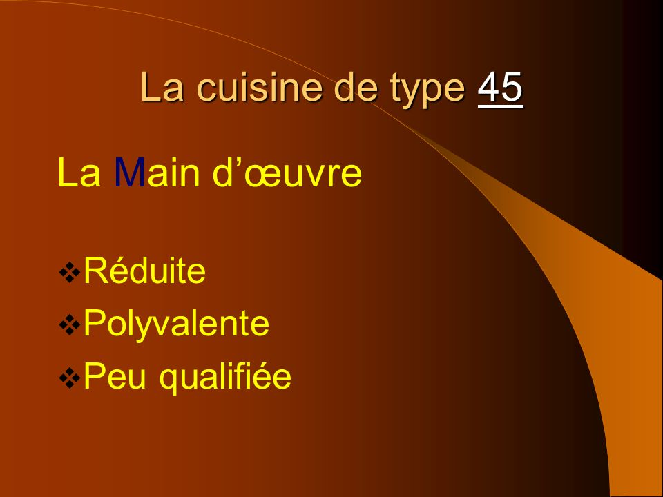 La cuisine de type 45 La Main d'œuvre Réduite Polyvalente