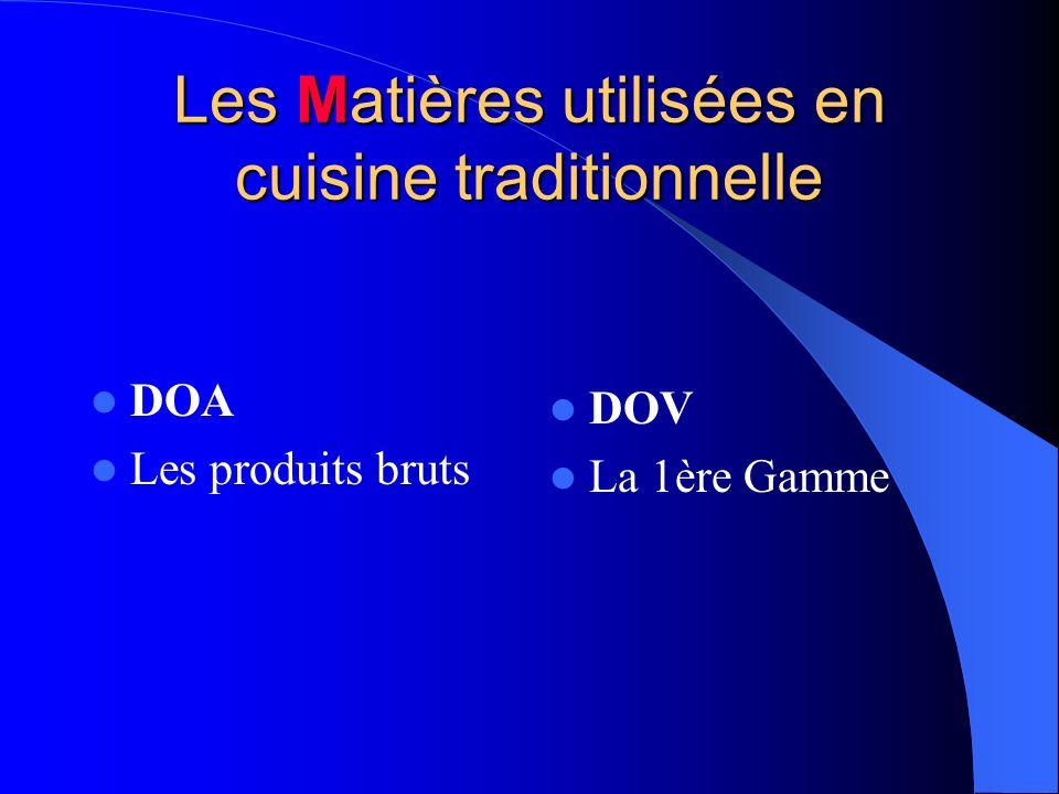 Les Matières utilisées en cuisine traditionnelle