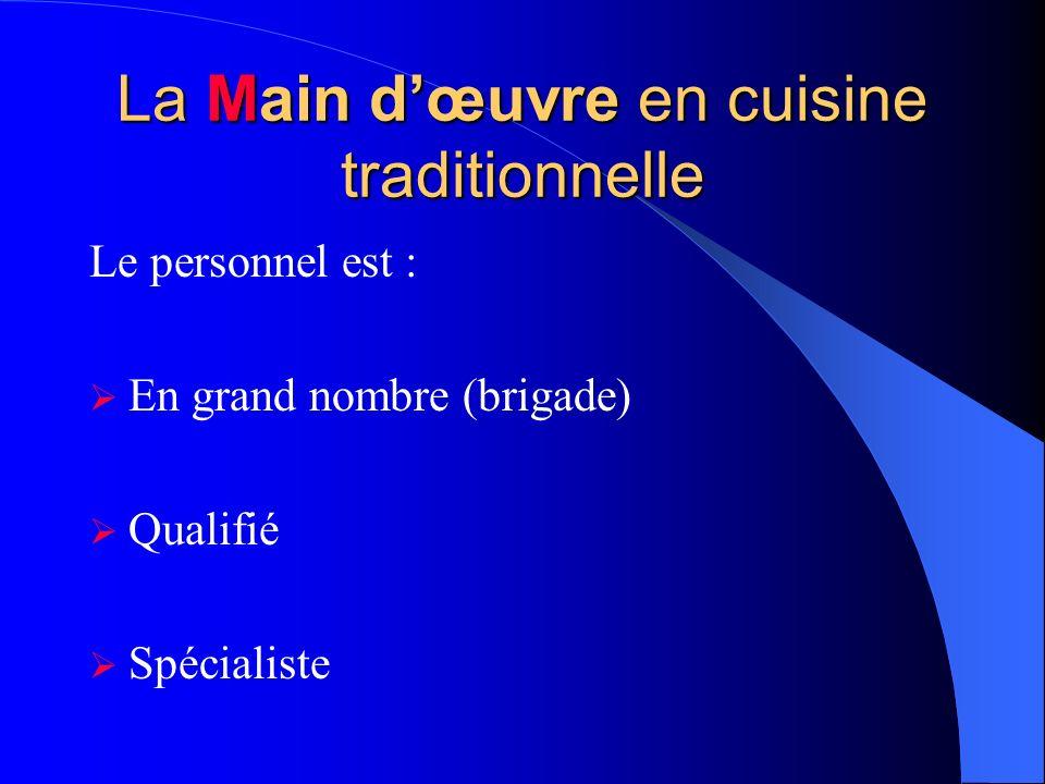La Main d'œuvre en cuisine traditionnelle