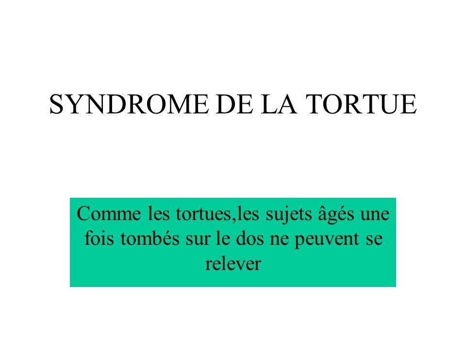 SYNDROME DE LA TORTUE Comme les tortues,les sujets âgés une fois tombés sur le dos ne peuvent se relever.