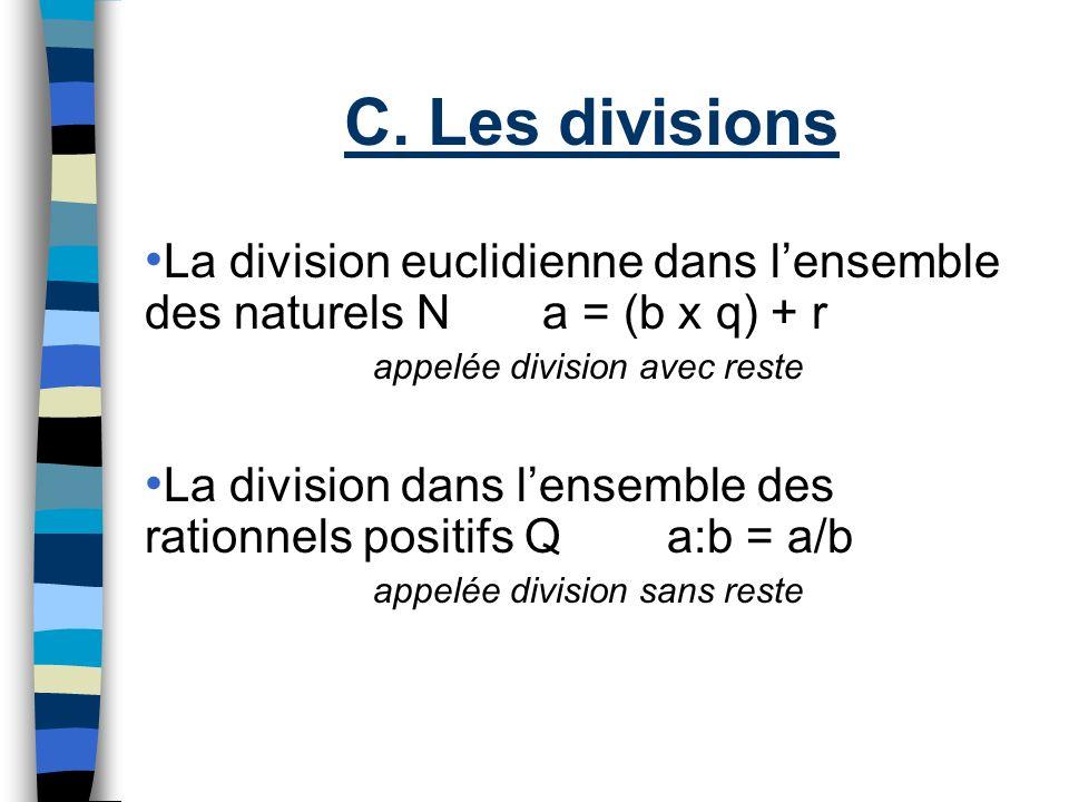 C. Les divisions La division euclidienne dans l'ensemble des naturels N a = (b x q) + r. appelée division avec reste.
