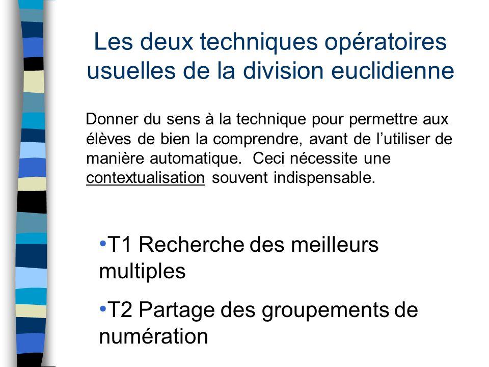 Les deux techniques opératoires usuelles de la division euclidienne