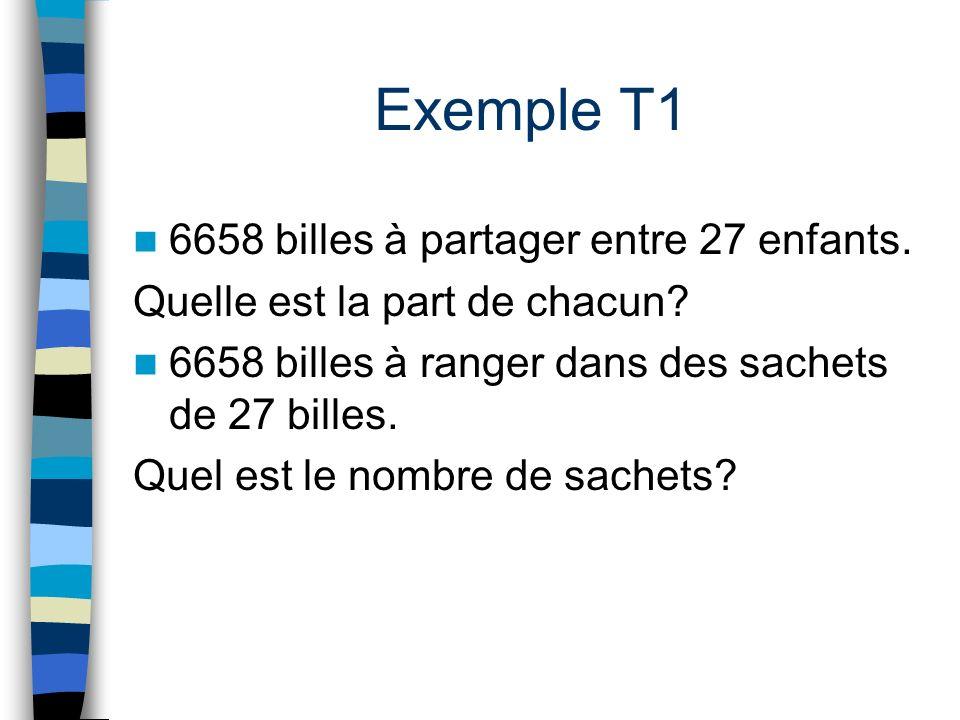 Exemple T1 6658 billes à partager entre 27 enfants.
