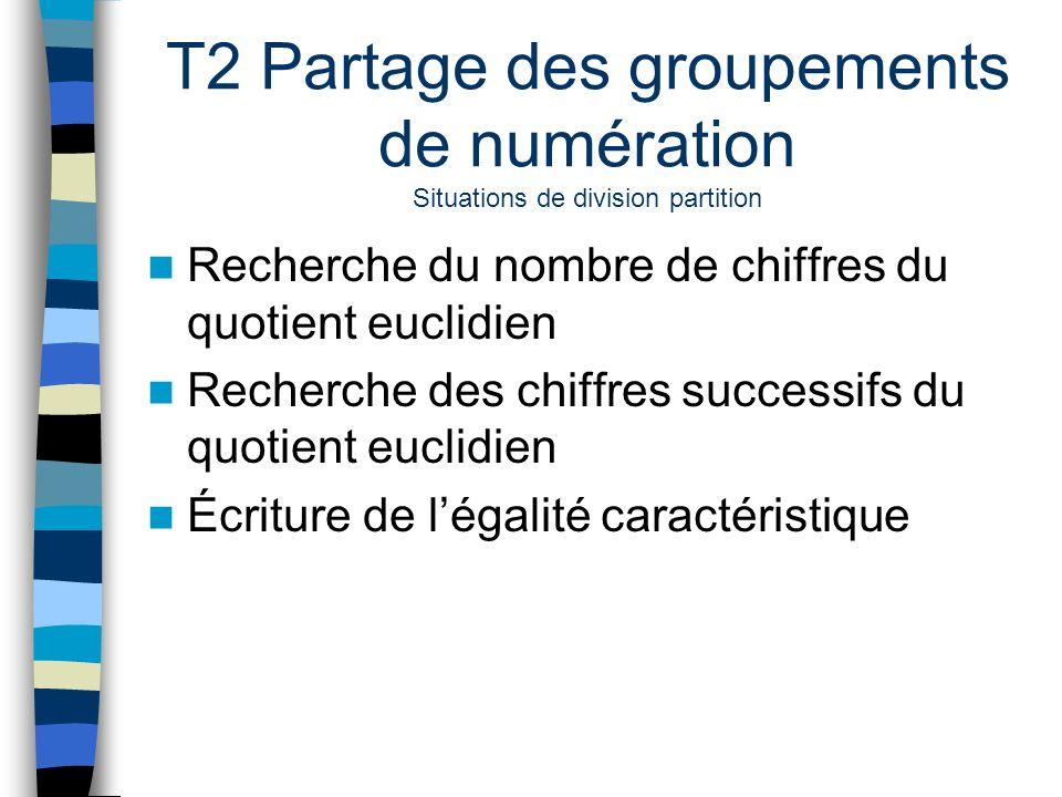 T2 Partage des groupements de numération Situations de division partition