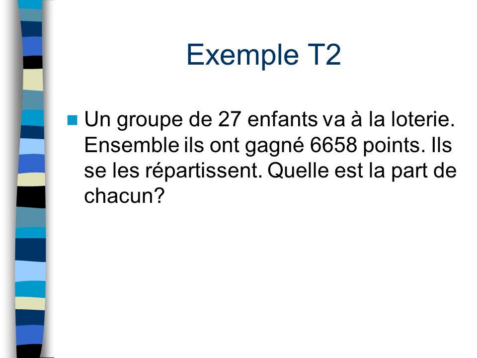 Exemple T2 Un groupe de 27 enfants va à la loterie.