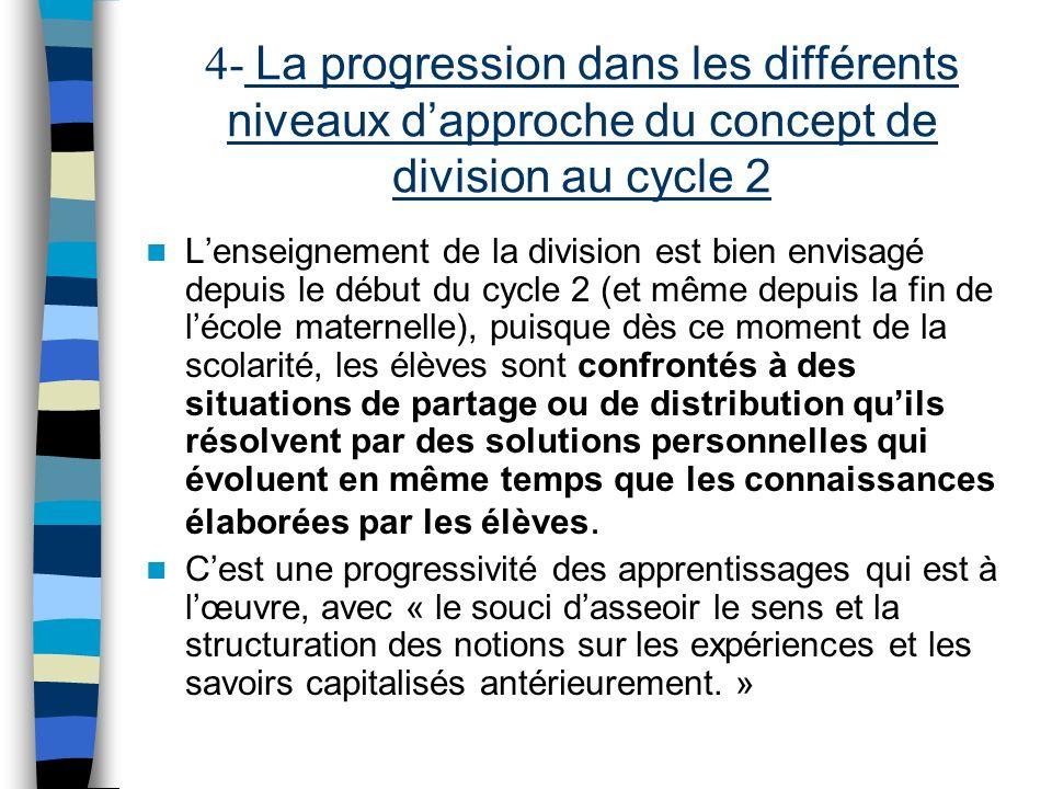 4- La progression dans les différents niveaux d'approche du concept de division au cycle 2