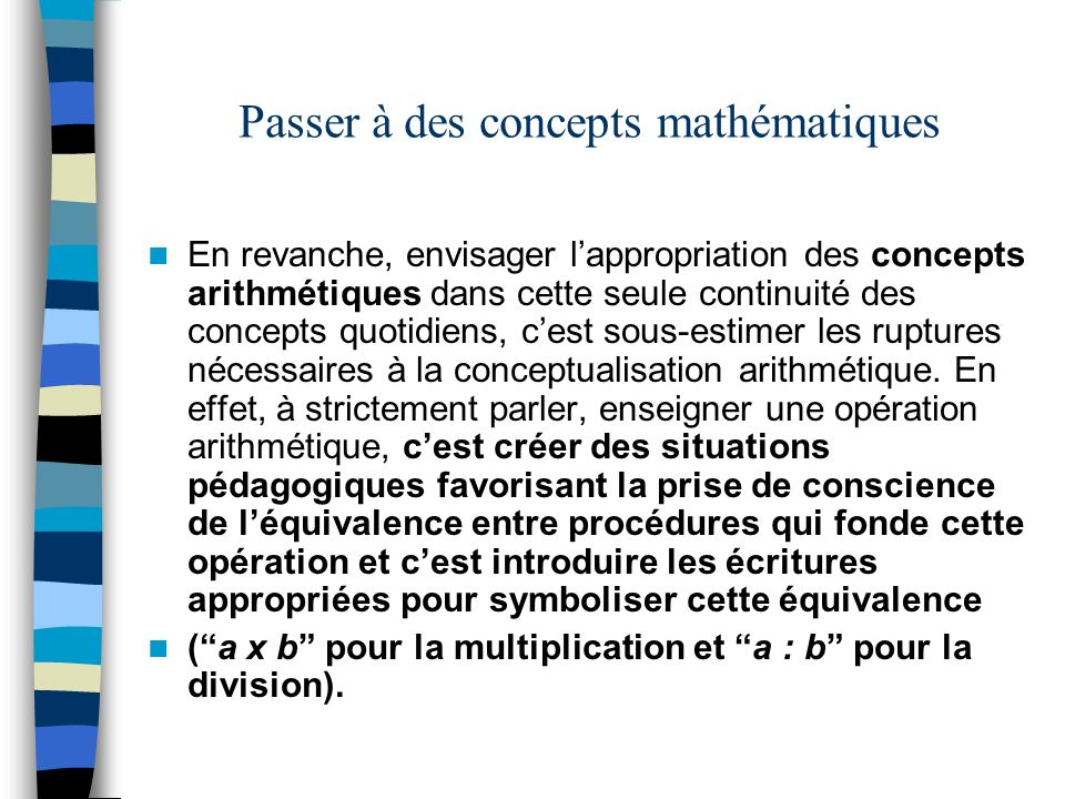 Passer à des concepts mathématiques