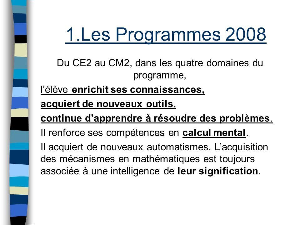 Du CE2 au CM2, dans les quatre domaines du programme,