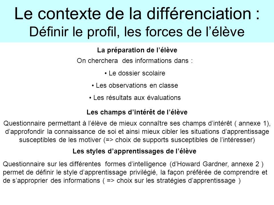 Le contexte de la différenciation : Définir le profil, les forces de l'élève
