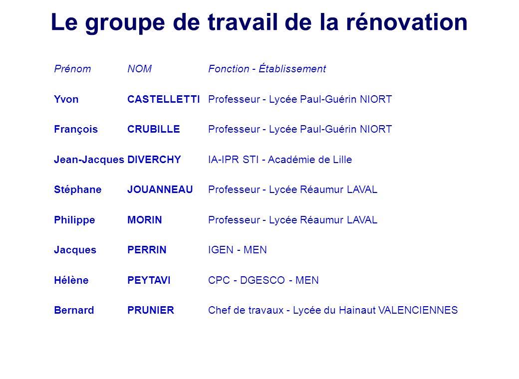 Le groupe de travail de la rénovation