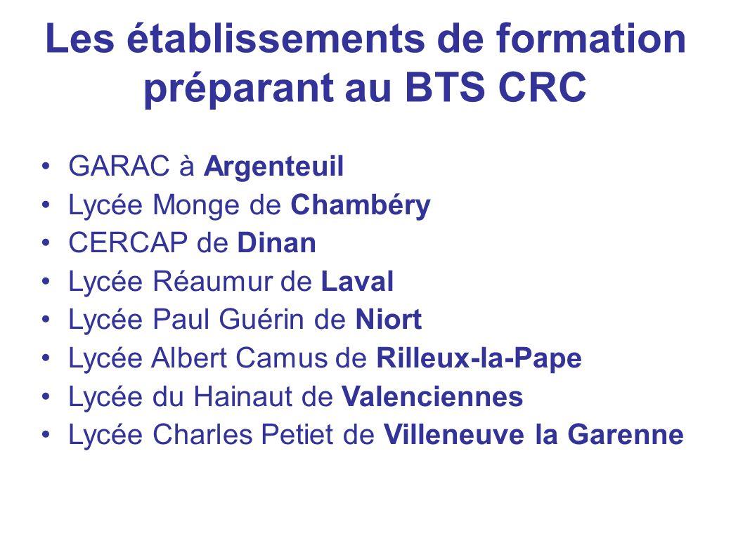 Les établissements de formation préparant au BTS CRC