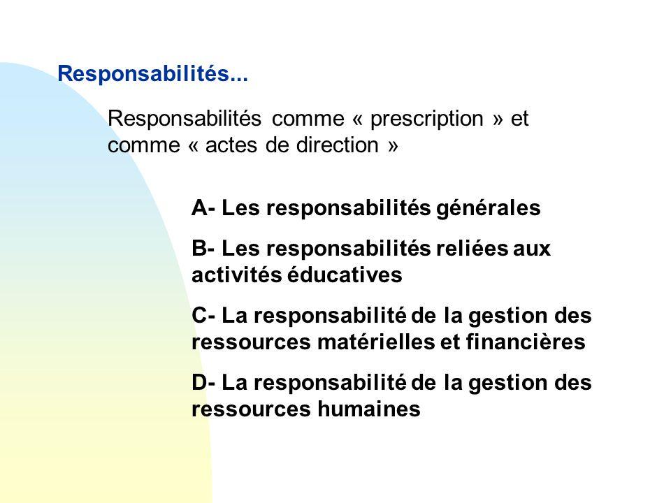 Responsabilités... Responsabilités comme « prescription » et comme « actes de direction » A- Les responsabilités générales.