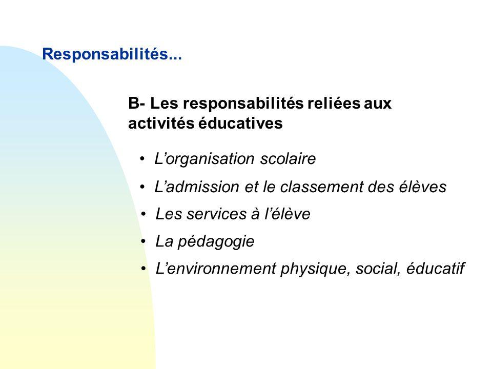 Responsabilités... B- Les responsabilités reliées aux activités éducatives. L'organisation scolaire.