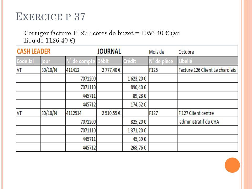Exercice p 37 Corriger facture F127 : côtes de buzet = 1056.40 € (au lieu de 1126.40 €)