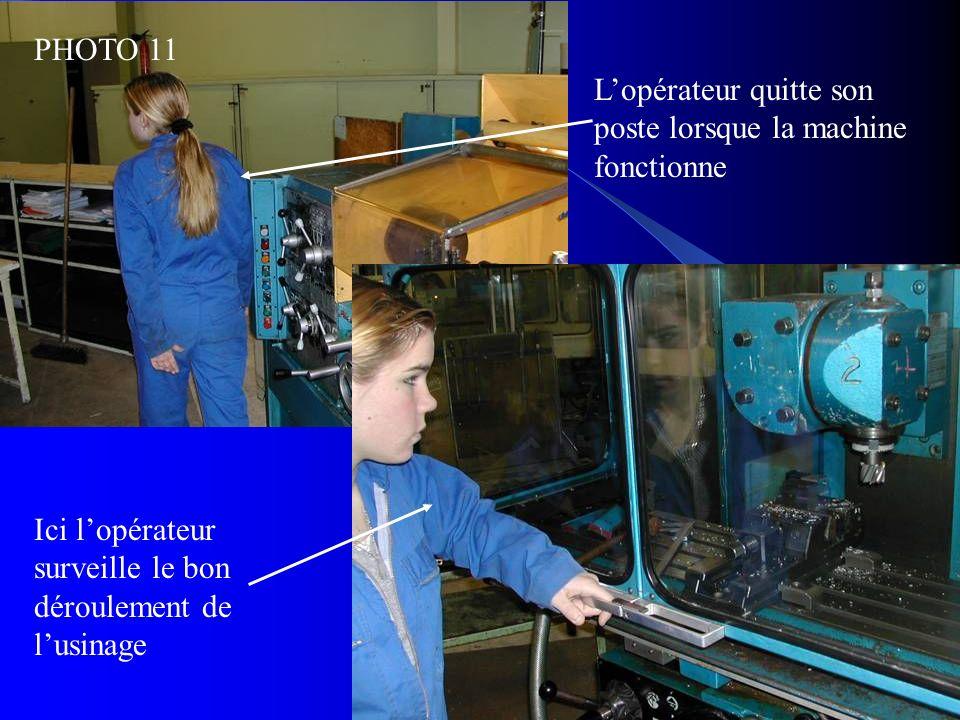 PHOTO 11 L'opérateur quitte son poste lorsque la machine fonctionne.